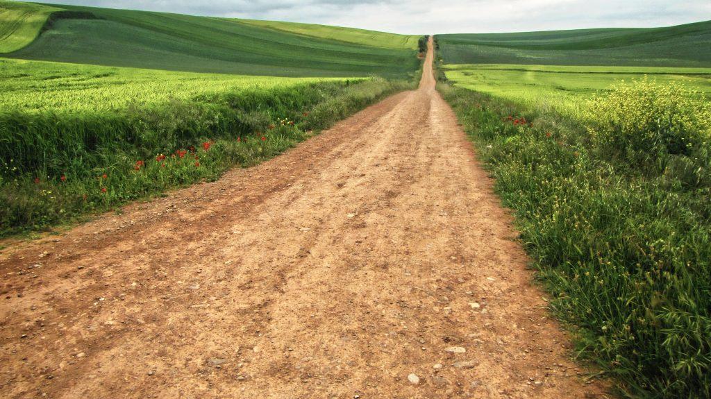 A very long dusty road camino de santiago