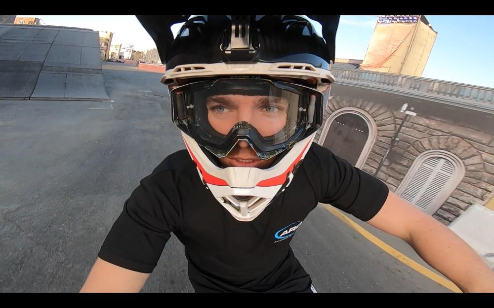 Motorcycle helmet closeup stunt life