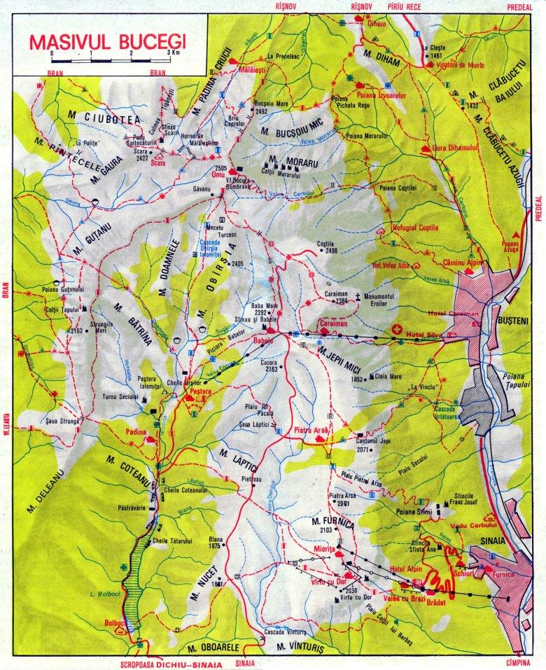Bucegi Natural Park Trails Map