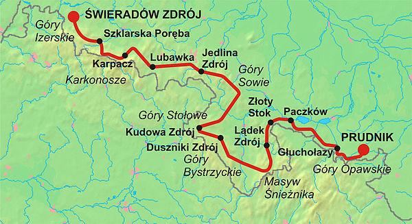 Glówny Szlak Sudecki Map