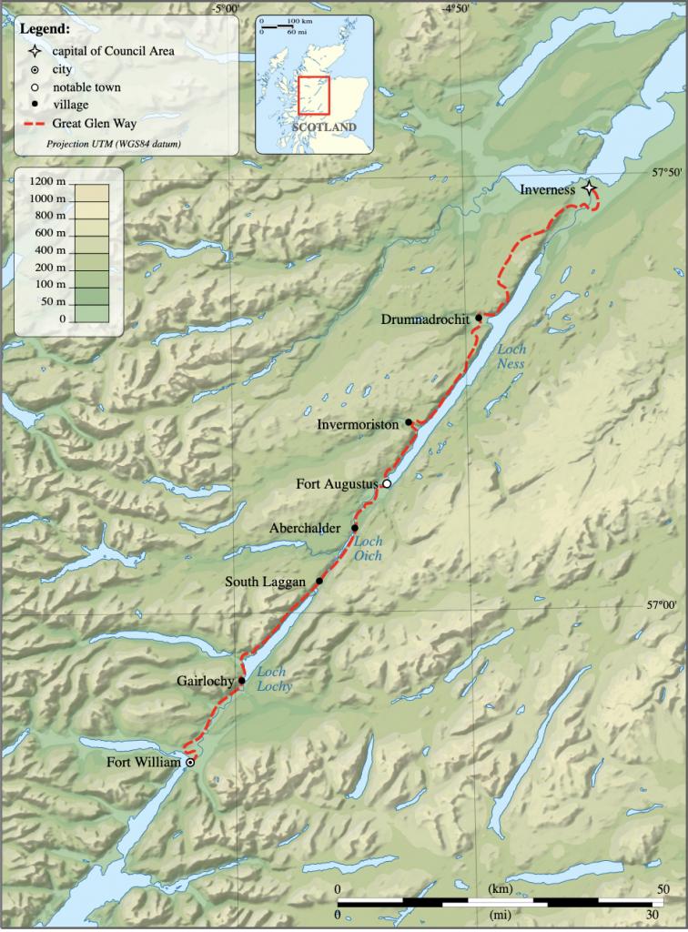 Great Glen Way Scotland Map