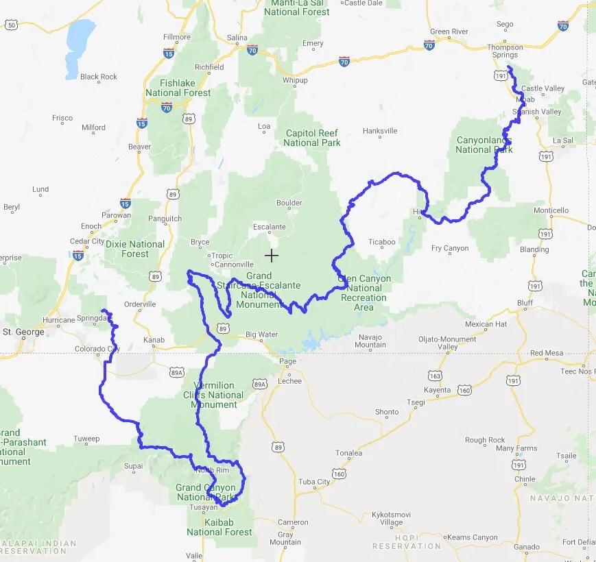 Hayduke Trail Map