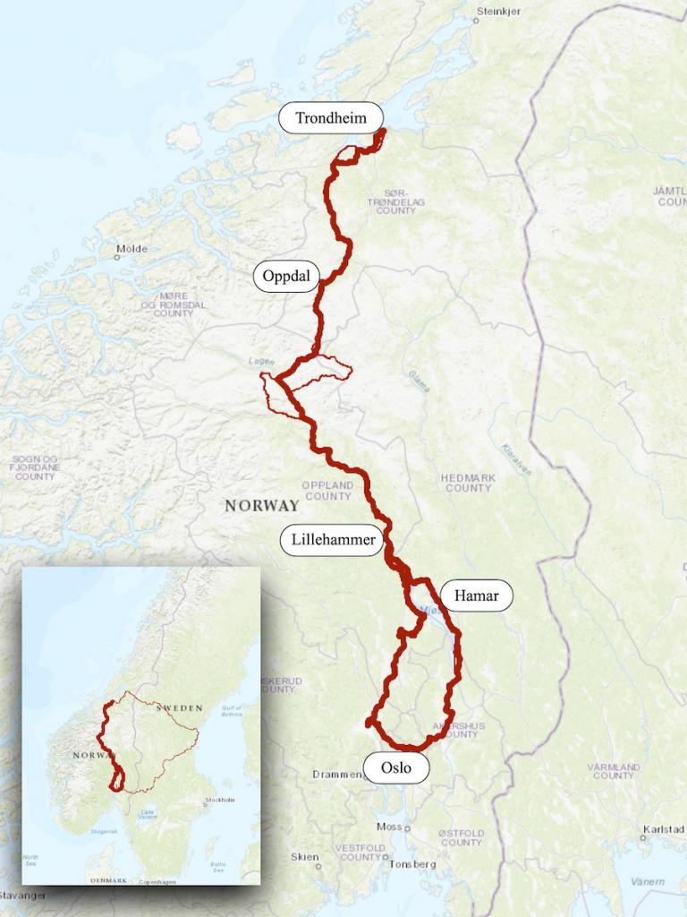 St Olav's Way Norway Map