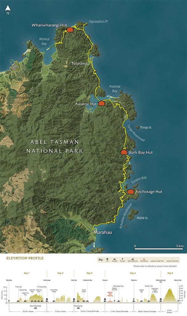 Abel Tasman Coast Track - New Zealand - Map and Elevation