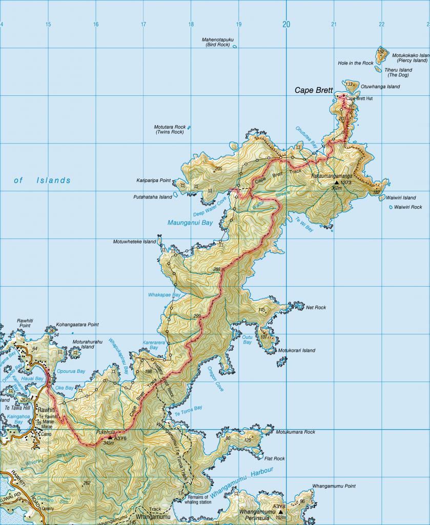 Cape Brett Track - New Zealand - Map