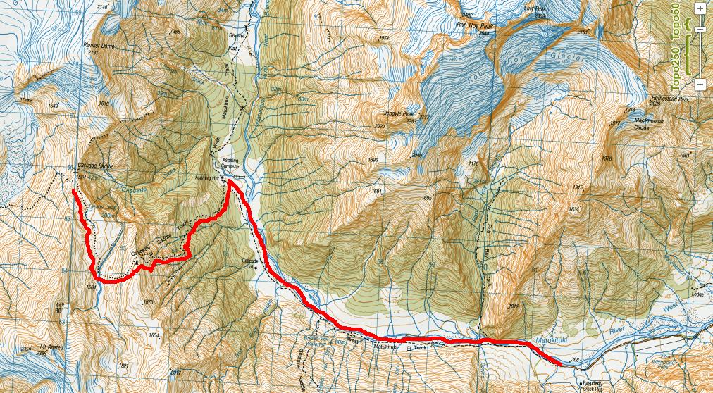 Cascade Saddle Route - New Zealand - Map