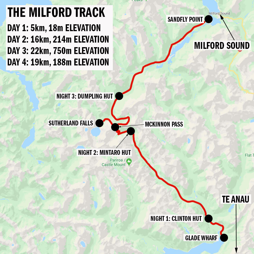 Milford Track - New Zealand - Map
