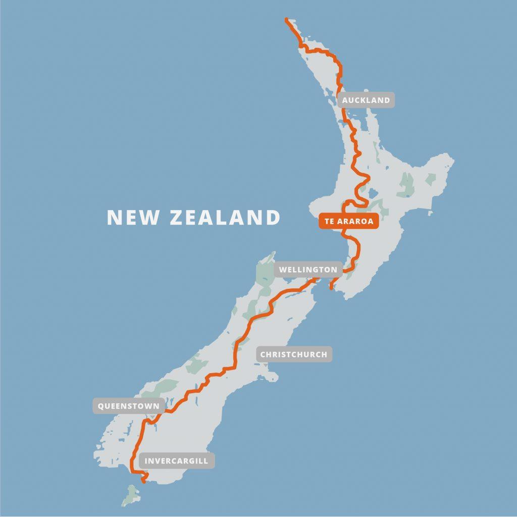 Te Araroa Trail - New Zealand - Map