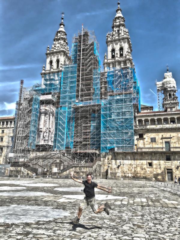 Arriving at Santiago de Compostela